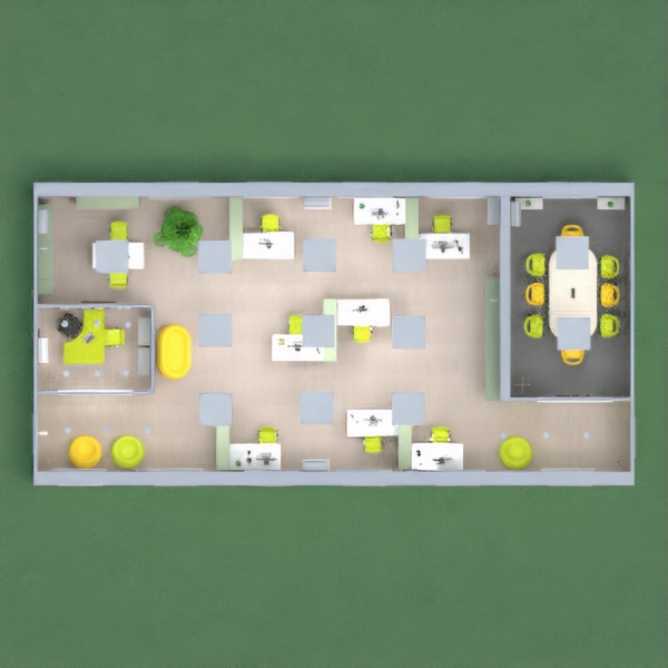 Office in apple green, yellow, gray and white, a smaller office for the boss, with textile covered back wall, meeting room with