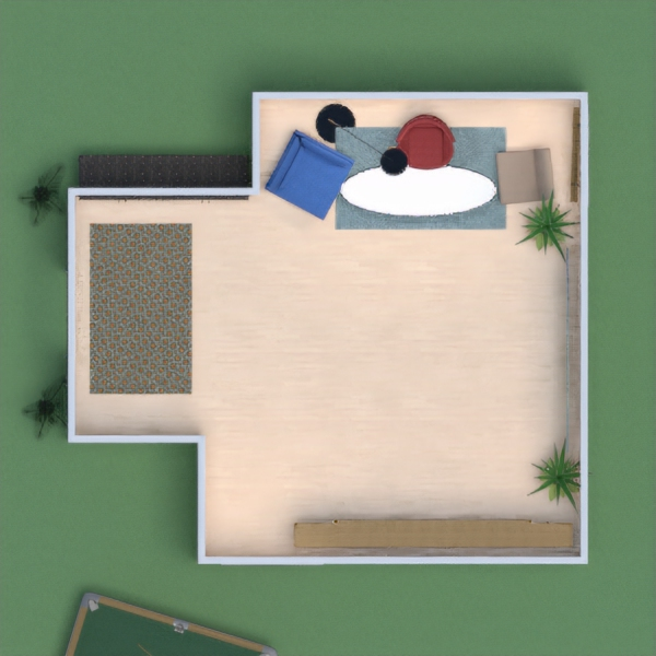 This is a little modern house with a huge garden filled with outdoor games. Indoor, there are shelves on which stands a TV with a nintendo switch. It is quite simple but very entertaining.