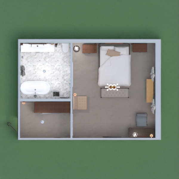 hotel room with bedroom and bathroom in brown lees.