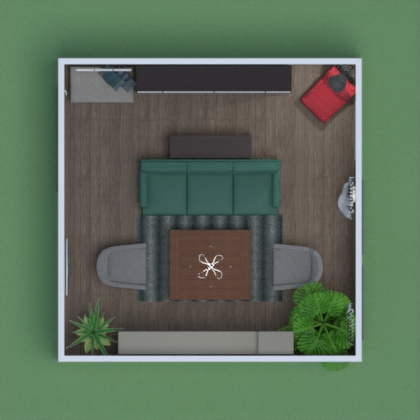 I created a rustic but warm space. I didn't want to change any colors to the default palette because it goes well with the mix of modern, rustic and transitional style I had in mind. I love the neutral palette with pops of teal and red