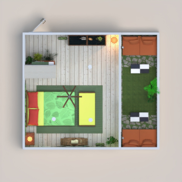 hi everybody! tropical room with green and orange color theme!  I would also be happy if you let me know your idea about this project.