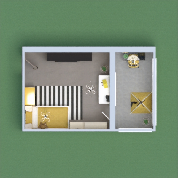 Hope you like yellow, black and white stripes!  Because this room is all about that!