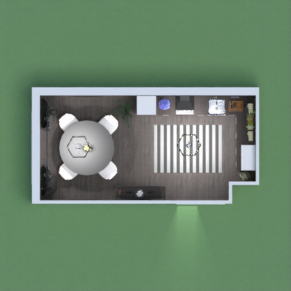 this is my dark kitchen, with a kitchen space and a place to eat. there is a shelf with cookbooks above the counter, and there are many plants all around the kitchen. please vote for me and leave a comment, i will try vote for whoever votes for me.