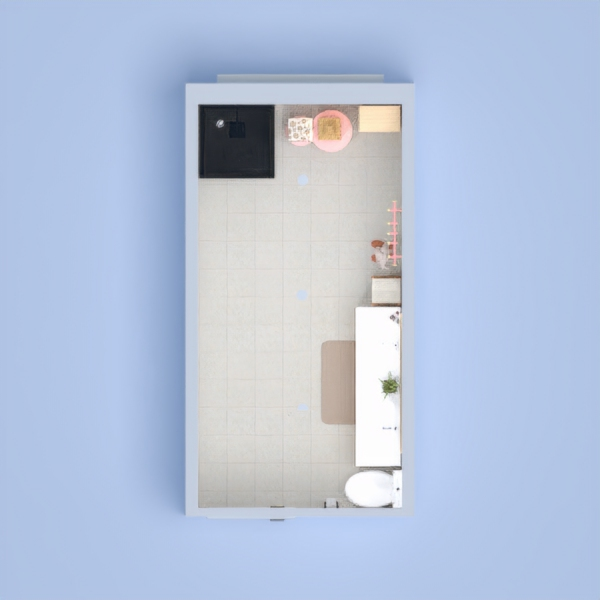This is just a simple bathroom, with a shower, toilet, storage, and double sink with mirror. Hope you like it!