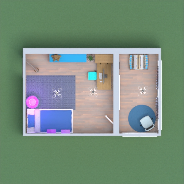 This is a nice bedroom for all kids and has a bed, desk, easel, dresser, and many decorations and accessories. The color themes are blue and purple. I hope you like it!