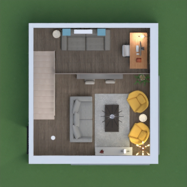 This multifunctional space allows someone the opportunity to relax, cook, work, and have fun. I incorporated a kitchen and living room area, as well as a upper level with more privacy. The second story can be used  as a chill space as well and a place to do work or school.