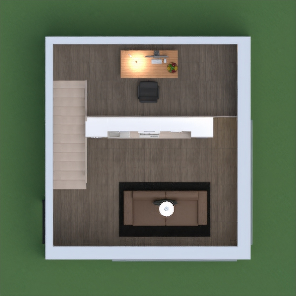 This is a little studio with a small and cute kitchen, a office up stairs, a armchair, a floor lamp, a tiny coffee table with roses on it, and a couch with a comfy black pillow, and a big fancy light fixture. I hope you enjoy it! Please vote me if you like it! Please no pasted comments! Enjoy!