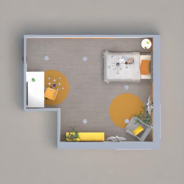 Yellow and Grey teenager bedroom