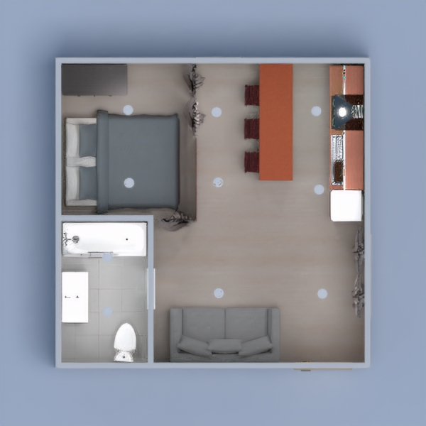 Complete with a kitchen, dining space, living space, bedroom, and full bathroom, this studio is the perfect place for a student to crash after a day of school, or a rental space.