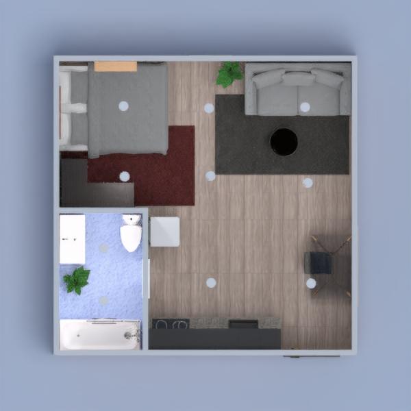 Petit appartement avec deux pièces  Une salle de bain avec un toilet, une baignoire et un lavabos. Une chambre avec lit double et armoire. Un salon sans télévision, une cuisine et un petit bureau.????