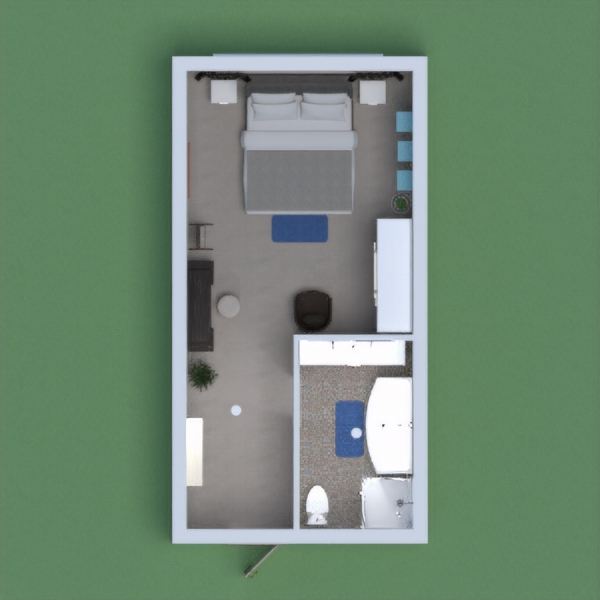 Moja spavaća soba s kupaonom.. Namještena je na moderan način