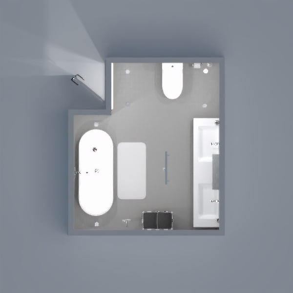 A modern glimpse of a bathroom generally dedicated to couples , portaid  in a minimalistic way; by using the colour white with a smooth mixture of lightly toned grey, that blends beautifully in.
