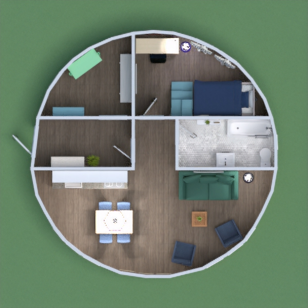 Hi everyone! This weeks project took forever because it was a whole house. But its done! I went with a Blue/Green/White color scheme, and added a small living room. Sorry if you think the storage is a mess, I honestly had no idea what to do with that room. Please leave some honest feedback, thank you!  -Sydney J (P.S. Olivia Schuler, I know your out there)